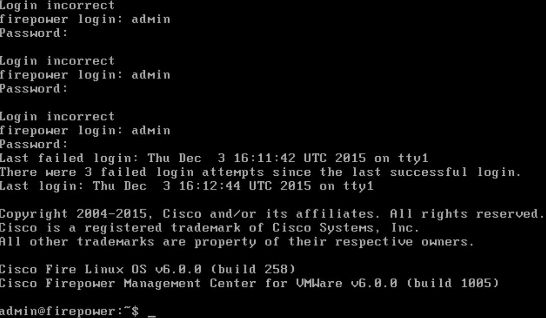 Default login for virtual Cisco FirePower Management Server |