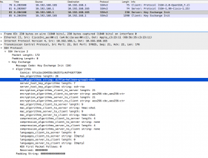 Wireshark screendump of packet sent from ASA to the client containing the SSH Key exchange offer